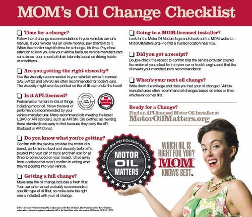 Moms oil checklist