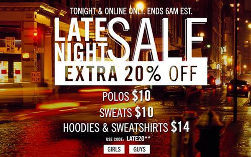 Aeropostale late night sale