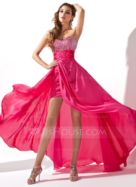 adf9d2cc7a272 ... want some attention at your prom, this A-Line/Princess Sweetheart  Asymmetrical Detachable Chiffon Prom Dress (http://www.jjshouse.com/Prom- Dresses-c18/) ...