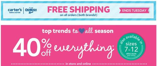Carter's free shipping