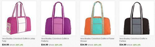 Vera bradley colorblock duffel