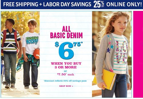 Children's place labor day free shipping