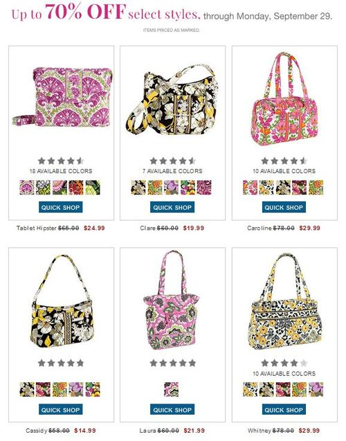 Vera bradley sale items up to 70% off