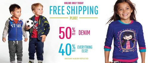 Children's place 40% off free shipping