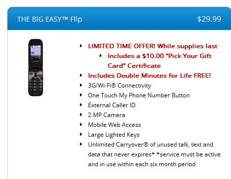Tracfone big easy flip phone