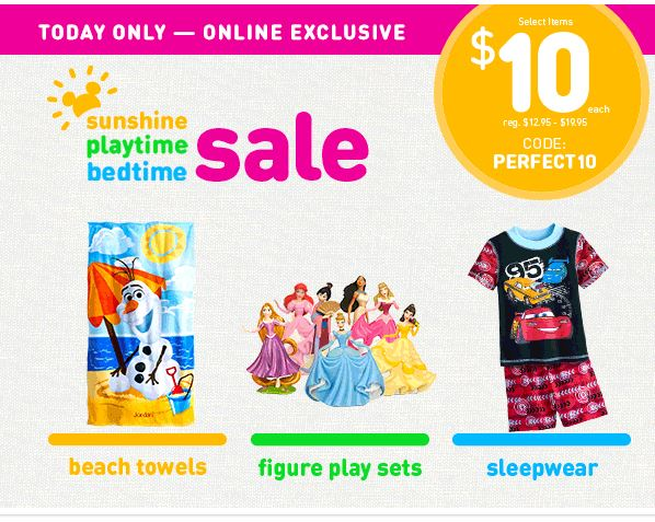Disney Store: Pajamas, Beach Towels & Play Sets $10