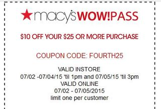 Macys $10 off $25 coupon