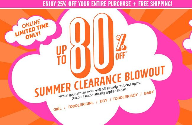 Children's Place up to 80% off + FREE Shipping on all orders