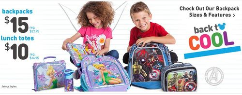 Disney store backpacks lunch bags