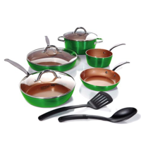 Simply Ming 10-piece Technolon+ Mega Cook Set in Vibrant Color green