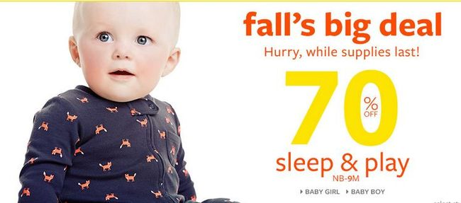 Carter's 25% Off Friends & Family - Sleep & Plays $3.60 Each