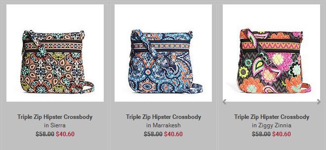 Vera Bradley Triple Zip Hipster Crossbody