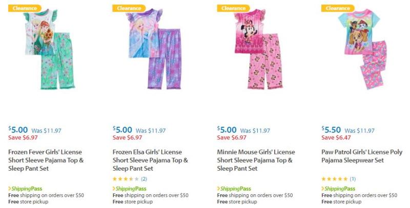 Walmart character sleep sets