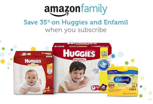 Amazon family 35% off Huggies Enfamil