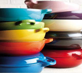 Le creuset 35qt cast iron multi function pan with gril lid colors