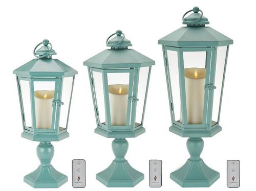 Luminara windsor lantern with pedestal and flameless candle