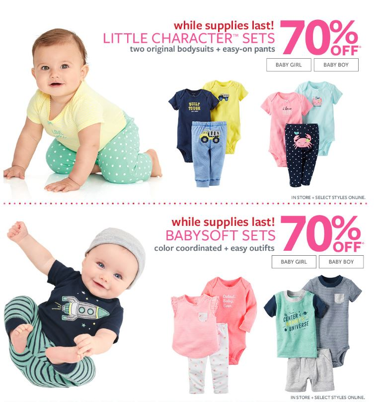 Carter's character and baby soft sets