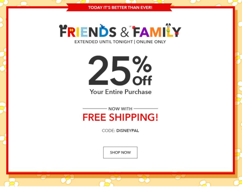 Disney friends and family sale coupon code