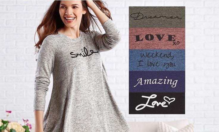 AnyBody Loungewear Brushed Hacci Message Swing Top
