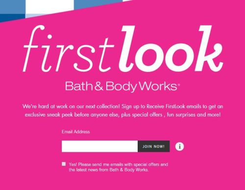 Bath and body works mailing list