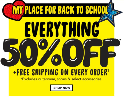 Children's place back to school 50% off free shipping