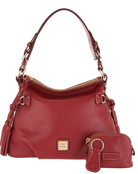 Dooney bourke smooth leather shoulder bag w accessories