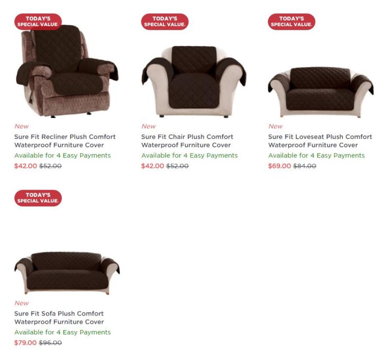 Sure Fit Plush Comfort Waterproof Furniture Cover