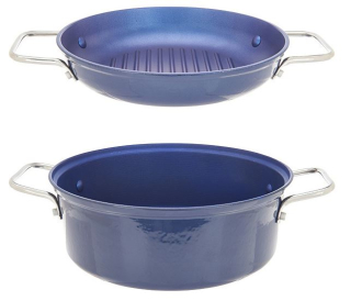 Cook's essentials 4 qt 2 in 1 lightweight cast iron pan blue