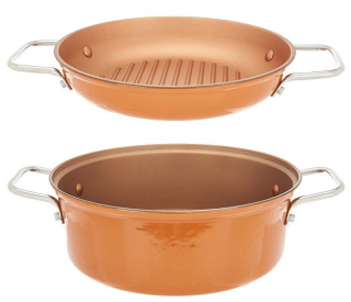 Cook's essentials 4 qt 2 in 1 lightweight cast iron pan copper
