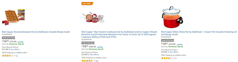 Amazon red copper bulbhead cookware