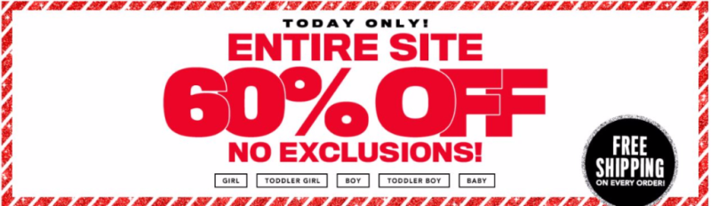 Children's place 60% off free shipping
