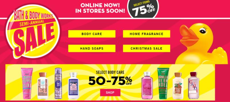 Bath and body works semi annual sale