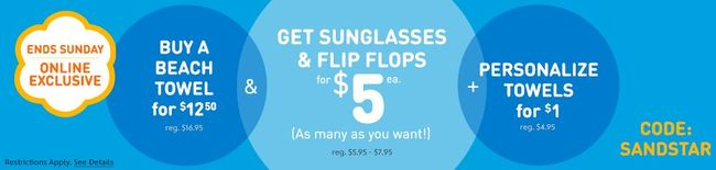 Disney Store: Buy a Beach Towel for $12.50 and get Sunglasses or Flip Flops for $5