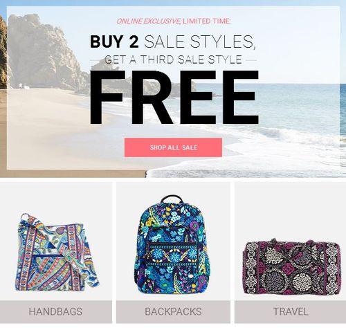 Vera bradley buy 2 sale styles get 1 free