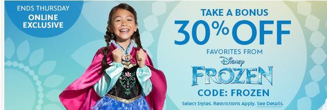30% off Frozen Favorites Disney Frozen Elsa Costume $20.99 (Was $49)