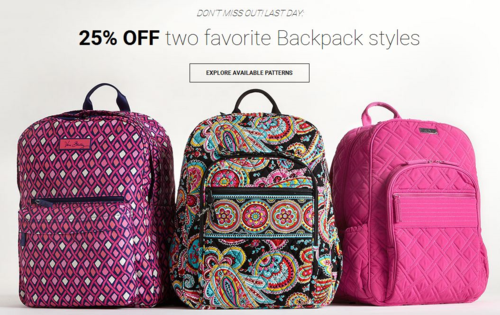 Vera bradley backpacks 25% off