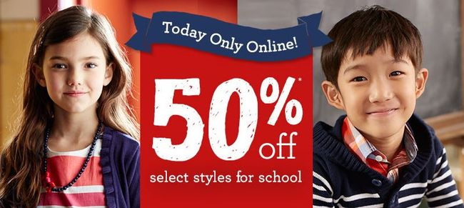 Take 50% Off Select School Styles - Today & Online Only at Gymboree!