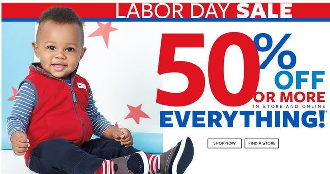 Carter's Labor Day Sale 50% of More off Everything - 70% off Playwear today only