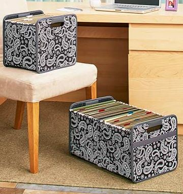 Collapsible file storage bins