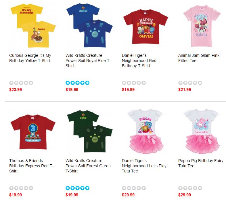 Birthday personalized character t-shirts on sale