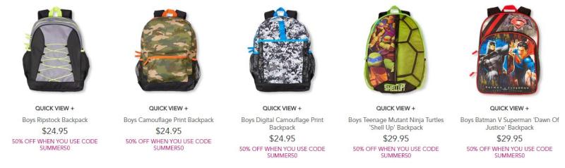 Children's place boys backpacks