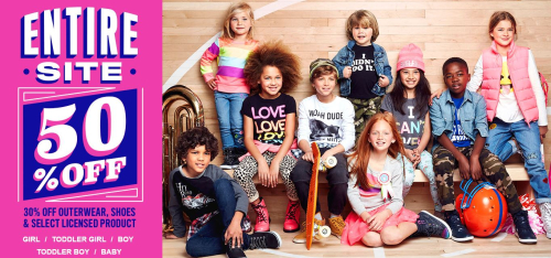 Children's place 50% off sitewide free shipping