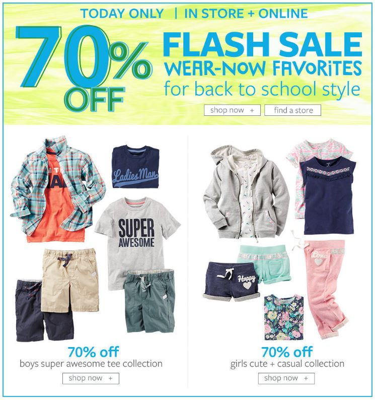 Carter's Back to School 70% off Flash Sale + 2 Piece Baby Sets $10