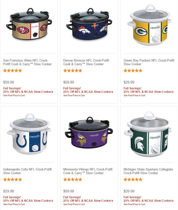 Nfl ncaa crock pot slow cookers