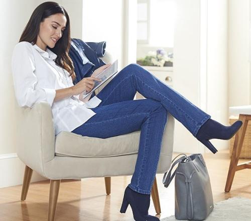 Qvc denim and company how smooth straight leg denim pants