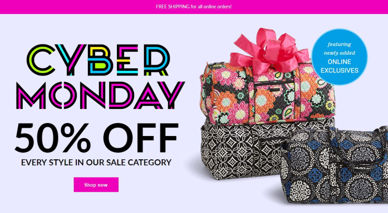 Vera bradley 50% off sale cyber monday