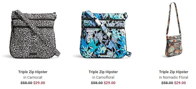 Vera bradley triple zip hipster