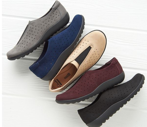 Clarks perforated nubuck leather slip on shoes medora gema