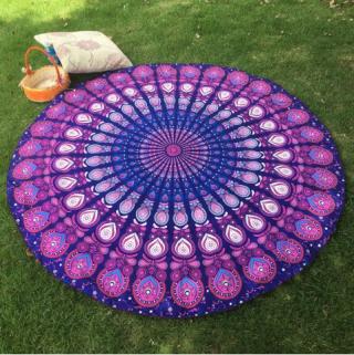 Bikini Boho Swimwear Arab Print Silky Comfortable Round Beach Throw Scarf - Purple