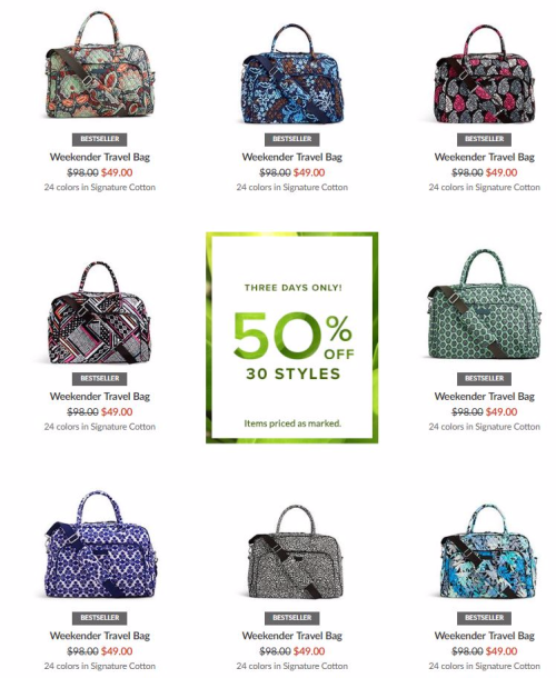 Vera bradley weekend travel bag sale